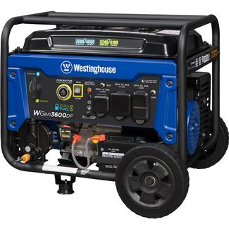 Westinghouse WGen3600DF Open Frame Dual Fuel (Gas/LP) Portable Generator, 3600 Watts