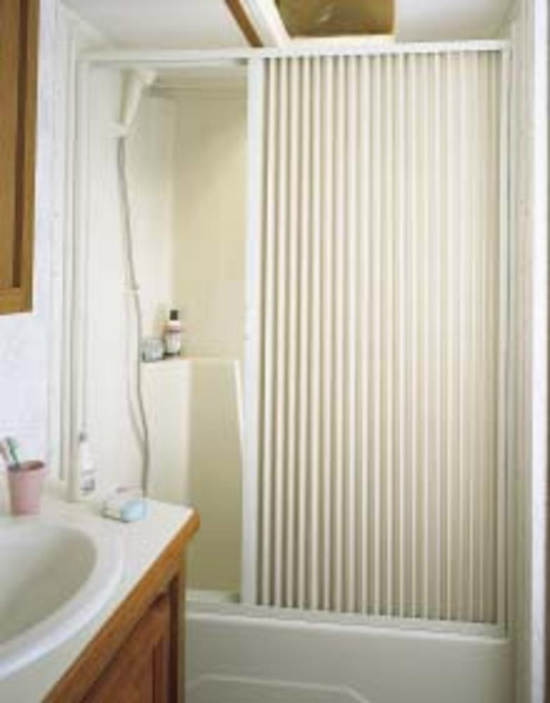 Pleated Shower Door, White - Up to 36\