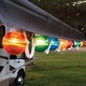 Multi-Color Prismatic Globe Lights with White Cord - 10 Globes