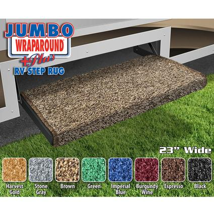 Jumbo Wraparound Plus RV Step Rug - Brown