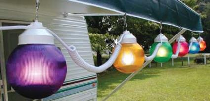 Multi-Color Prismatic Globe Lights with White Cord - 6 Globes