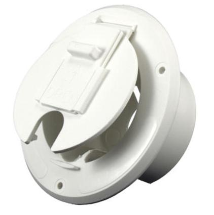 Economy Round Electric Cable Hatch- Polar White