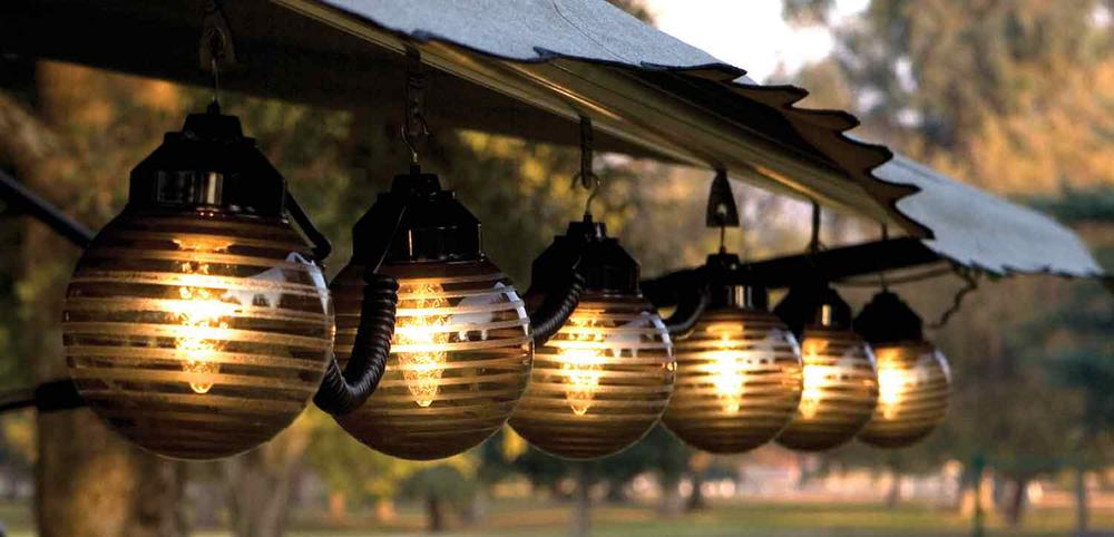 Etched Bronze Globe Lights With Black Cord 6 Globes
