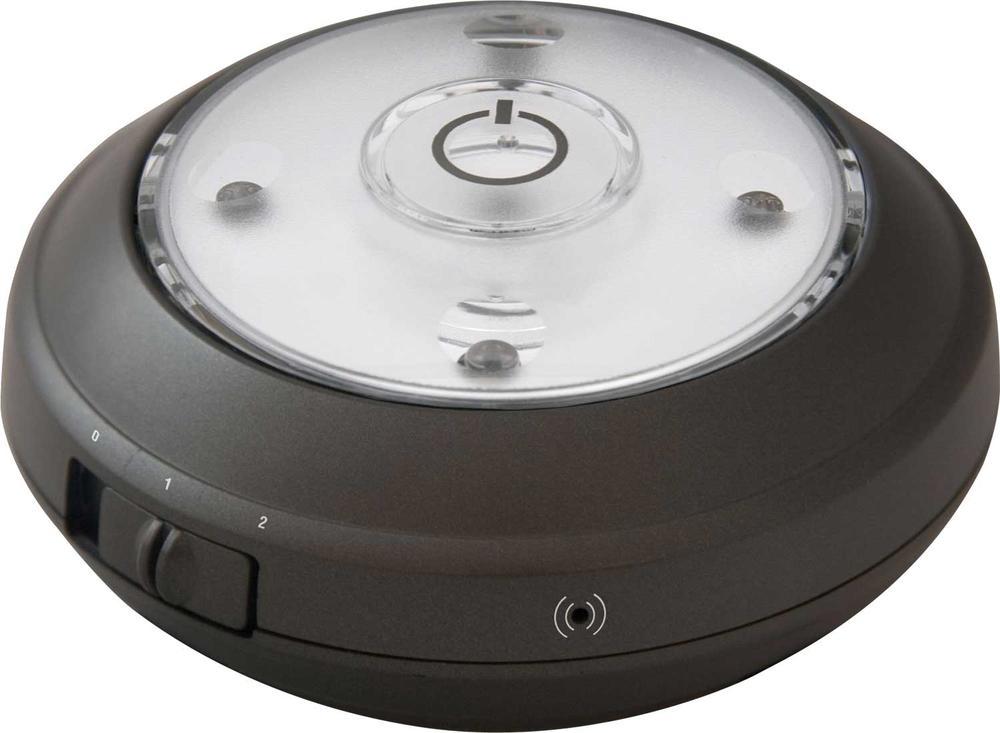 image wireless led puck light with auto on off sensor single grey. Black Bedroom Furniture Sets. Home Design Ideas
