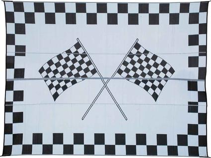Reversible Checkered Racing Patio Mat - 9' X 12'