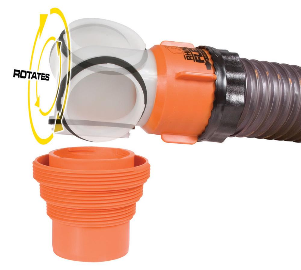 Rhinoflex swivel elbow fitting with in adapter camco