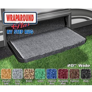 Wraparound Plus RV Step Rug, 20&quot&#x3b;, Stone Gray