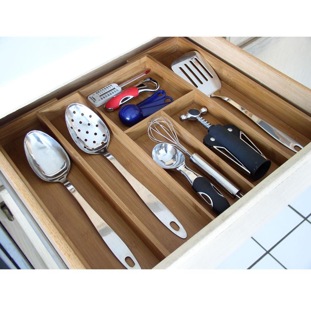 Bamboo utensil drawer organizer axis 4138 cabinet and for Utensil organizer for small drawers