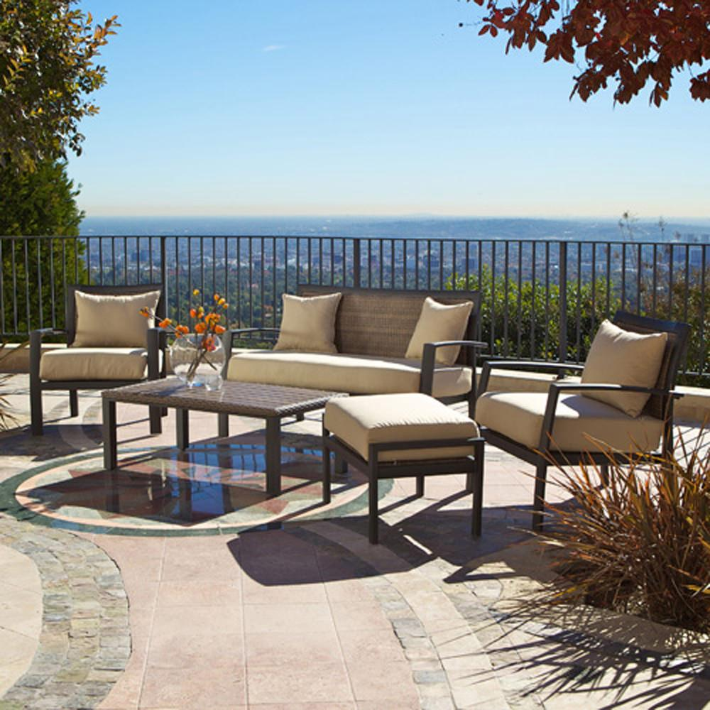 Zen 5 pc deep seating set patio furniture red star for Deep seating outdoor furniture