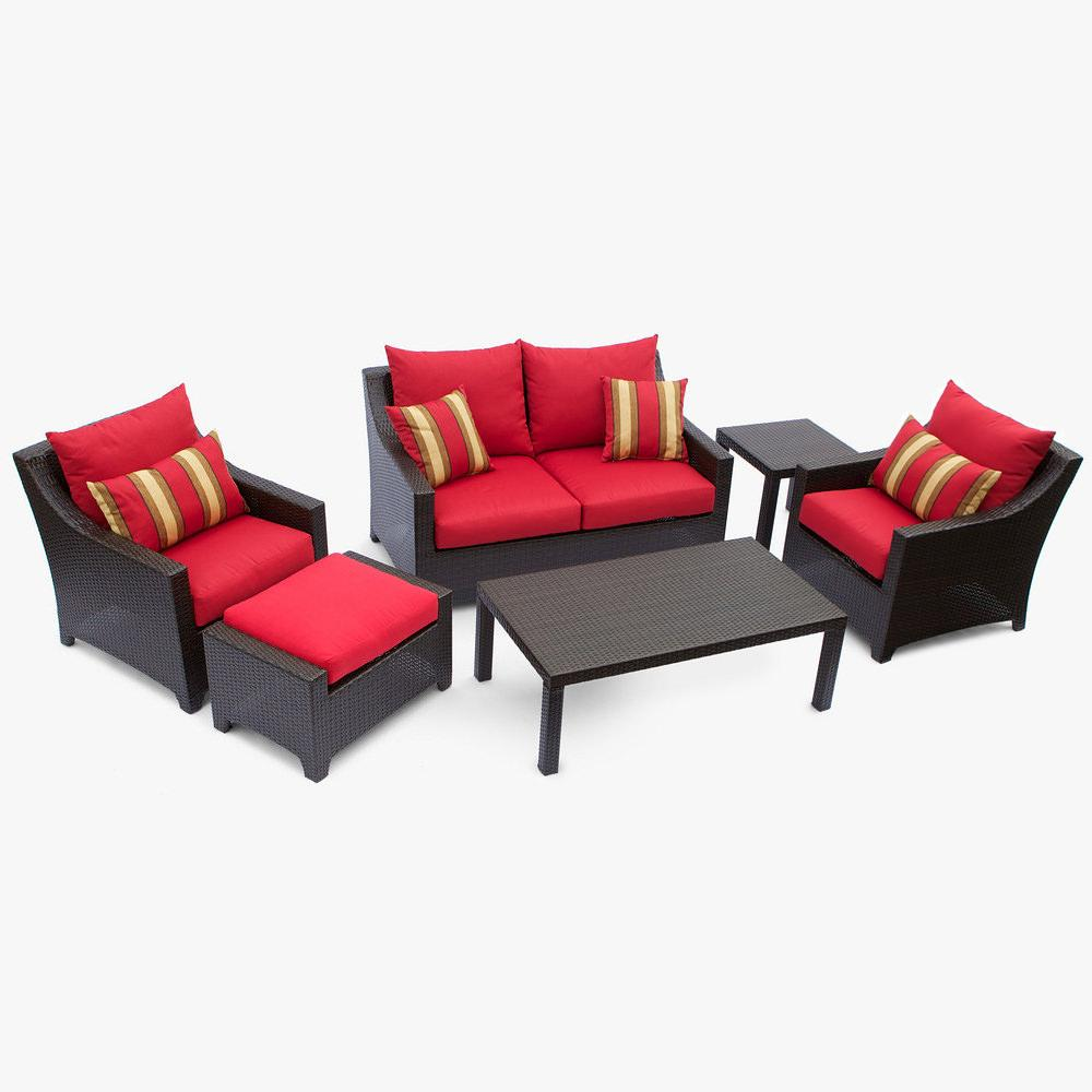 Cantina 6 Pc Deep Seating Love Seat Club Chairs Ottoman Coffee And End Table Set Patio
