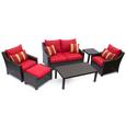 Cantina 6 pc Deep Seating Love Seat, Club Chairs, Ottoman, Coffee and End Table Set Patio Furniture