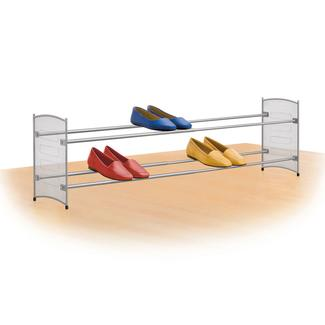 Expandable/ Stackable Mesh Shoe Rack, Platinum