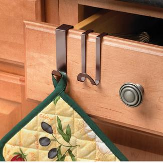 Bronze Over Cabinet&#x2f&#x3b;Drawer Hook, Set of 2