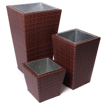 Cantina 3-Piece Rattan Planter Set