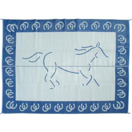 Reversible Running Horse Patio Mat, 9' X 12' - Blue/White