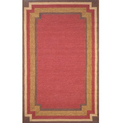Ravella Rug - Border Design - 8' Square, Red