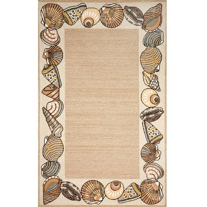 Ravella Rug- Seashell Border- 3 X 2, Natural