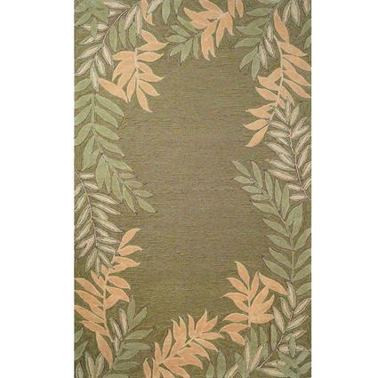 Spello Rug- Fern Border- 8 X 5, Green