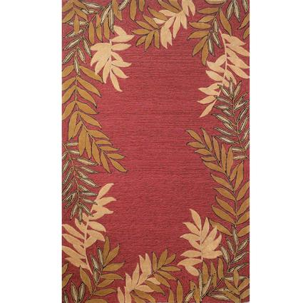 Spello Rug- Fern Border- 5.5 X 3.5, Red