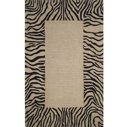 Spello Rug- Zebra Border- 5.5 X 3.5, Neutral