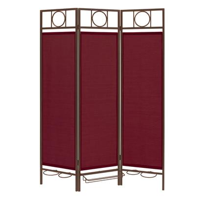Contemporary Privacy Screen, Bronze Frame- Burgundy