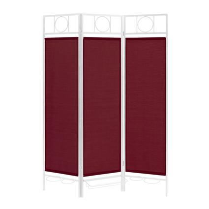 Contemporary Privacy Screen, White Frame- Burgundy
