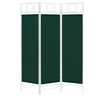 Contemporary Privacy Screen, White Frame- Forest Green