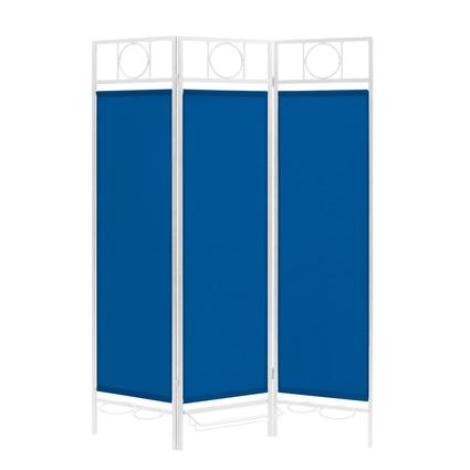 Contemporary Privacy Screen, White Frame- Pacific Blue