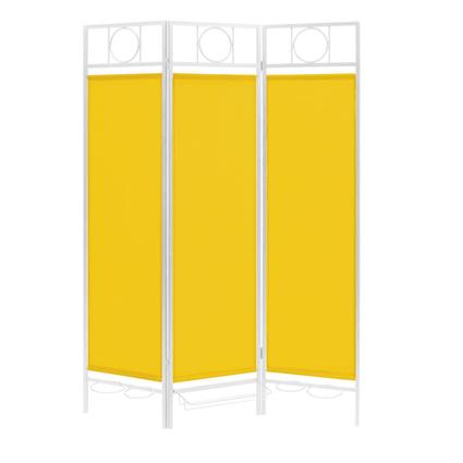 Contemporary Privacy Screen, White Frame- Yellow