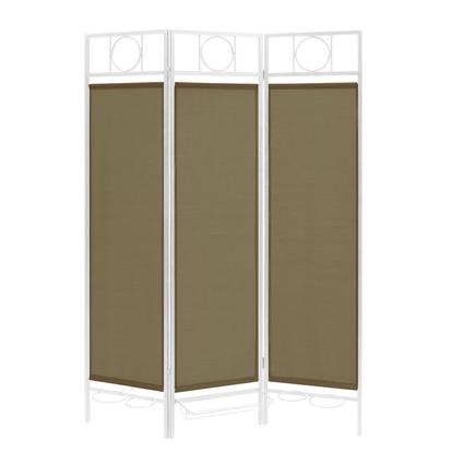 Contemporary Privacy Screen, White Frame- Sage