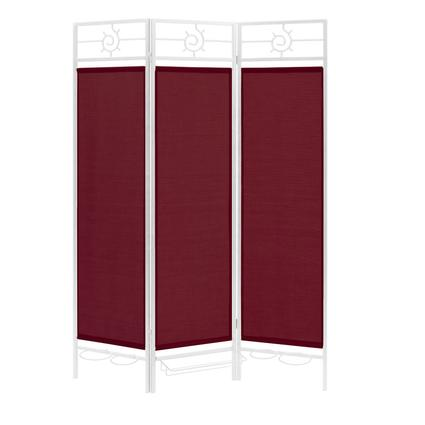 Sunburst Privacy Screen, White Frame- Burgundy