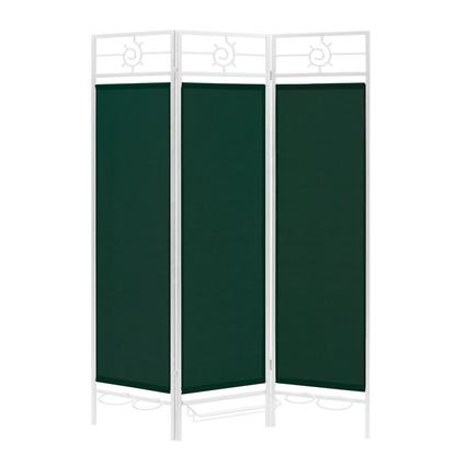 Sunburst Privacy Screen, White Frame- Forest Green