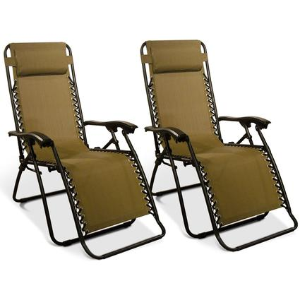 Zero Gravity Recliner, Beige - 2 Pack