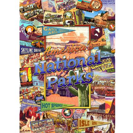 Unique 1000-piece puzzle is a collage pictorial of the most popular national parks in the US.