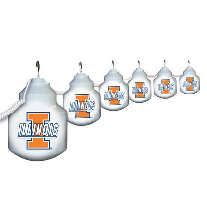 Collegiate Patio Globe Lights, 6 light set- Illionois