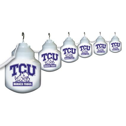 Collegiate Patio Globe Lights, 6 light set- TCU
