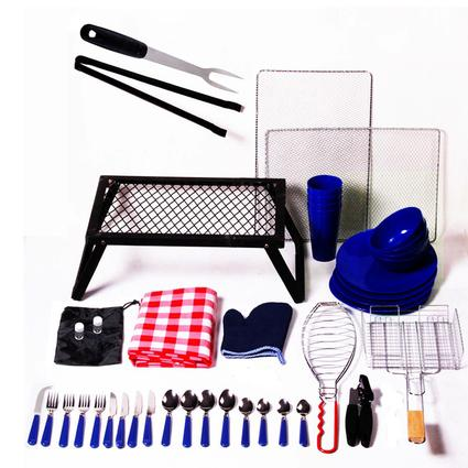 43 Piece Camping Grill Set - Blue