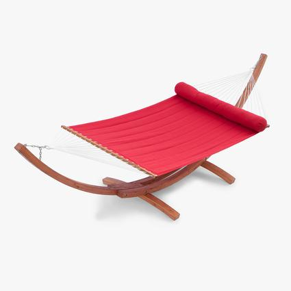 Cantina Wood Arc Hammock with Jockey Red Sunbrella Bed Set Patio Furniture