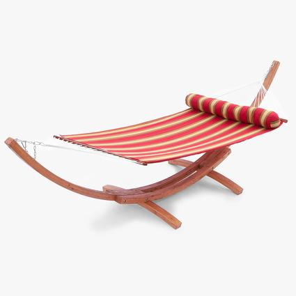 Cantina Wood Arc Hammock with Striped Polyspun Hammock Set with Bolster Pillow Patio Furniture