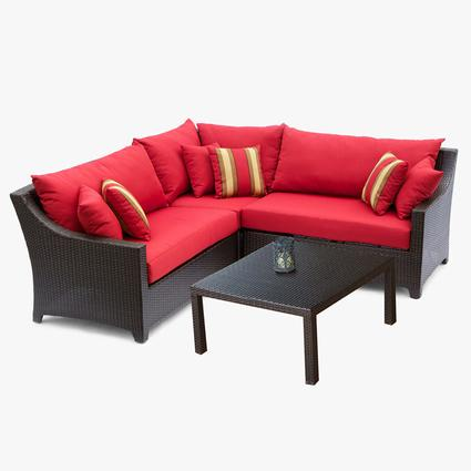 Cantina 4 pc Corner Sectional with Coffee Table Set Patio Furniture