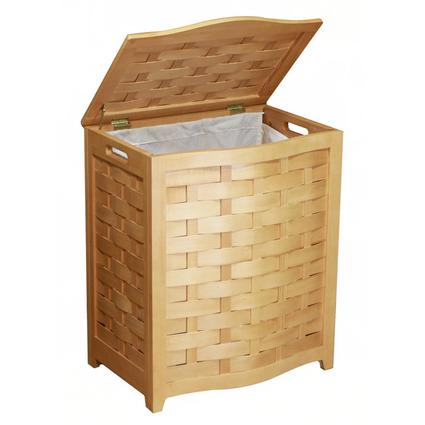 Oceanstar Natural Finished Bowed Front Veneer Laundry Wood Hamper with Interior Bag