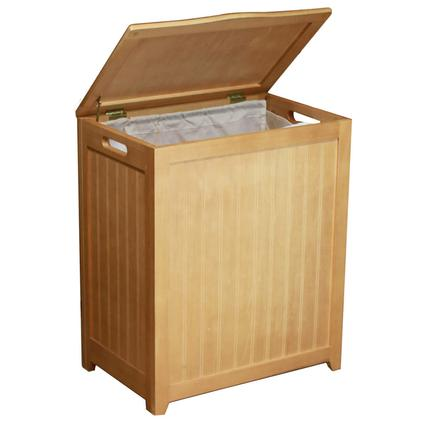 Oceanstar Natural Finished Rectangular Laundry Wood Hamper with Interior Bag