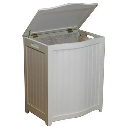 Oceanstar White Finished Bowed Front Laundry Wood Hamper with Interior Bag