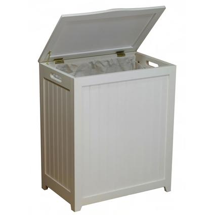 Oceanstar White Finished Rectangular Laundry Wood Hamper with Interior Bag