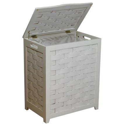 Oceanstar White Finished Rectangular Veneer Laundry Wood Hamper with Interior Bag