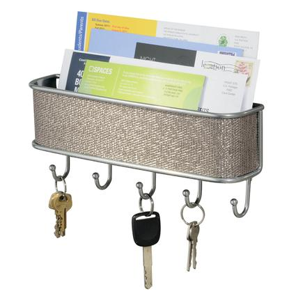 Wall Mount Mail/Key Rack- Silver