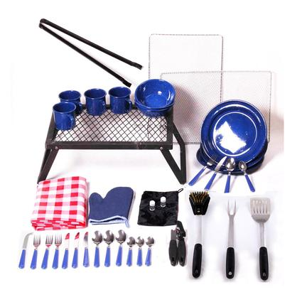 43-Piece Enamel Camping & BBQ Set w/ Tools-Blue