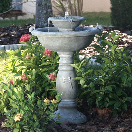 Country Gardens Two-Tier Solar Fountain