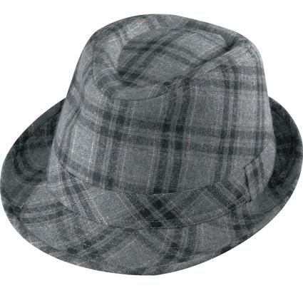 Gentleman Wool Hat- Gray Plaid Large
