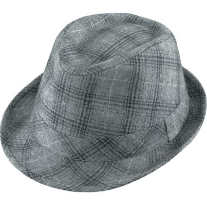 Gentleman Wool Hat- Charcoal Plaid Medium